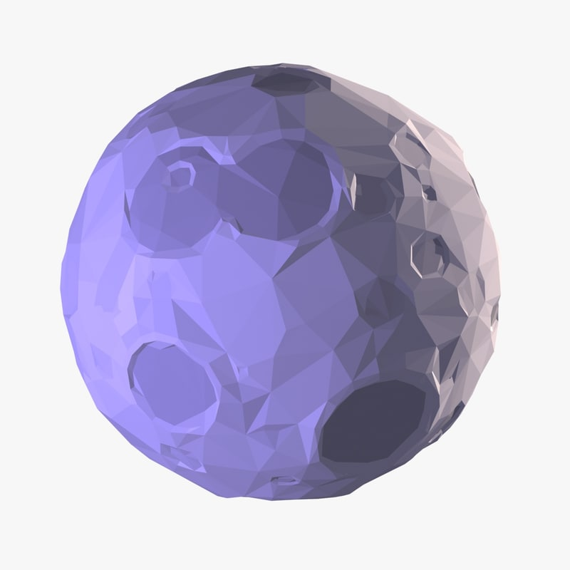 Cartoon Moon Low Poly Style