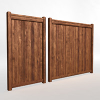 3d wood fence 01 model