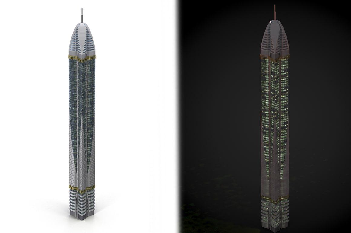 3d skyscraper cityscape model