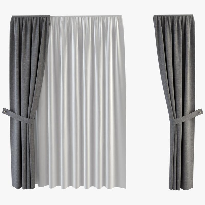 3d curtain tulle model