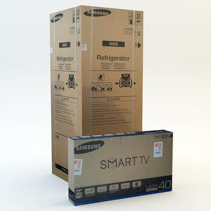 cardboard box set tv 3d max