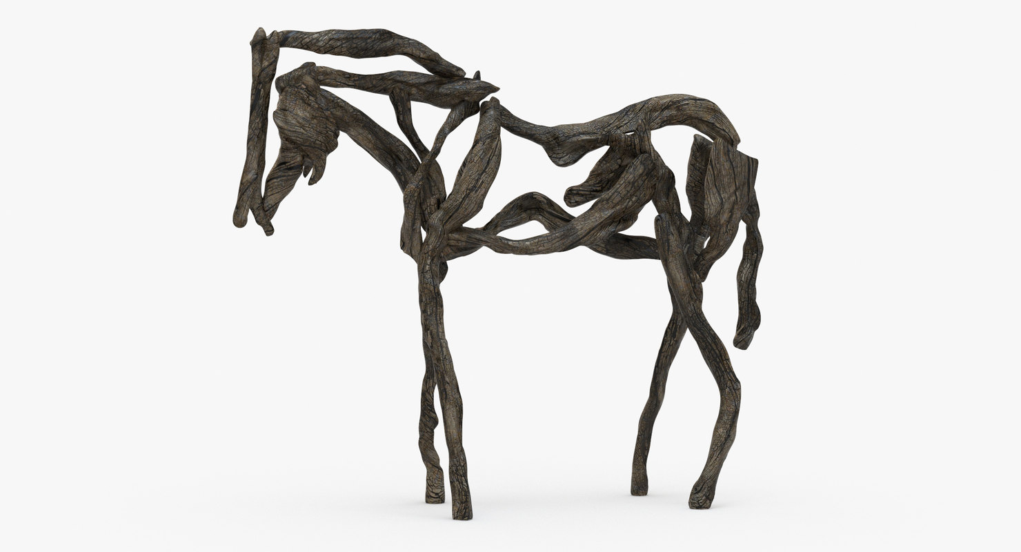 3d horse wooden sculpture wood model