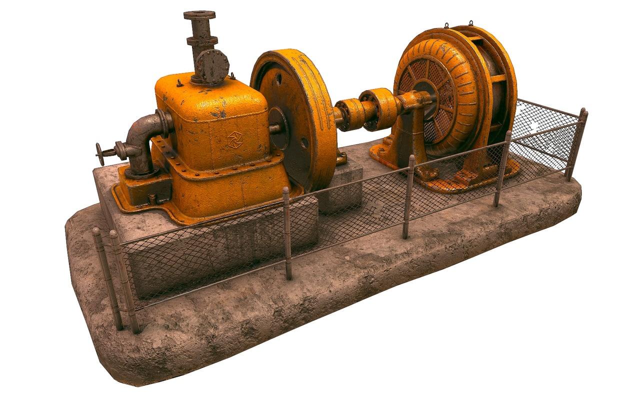 old factory generator 3d fbx