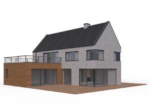 3d modern family house exterior model