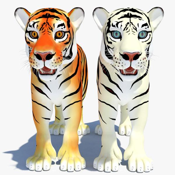 cartoon tiger white natural 3d model