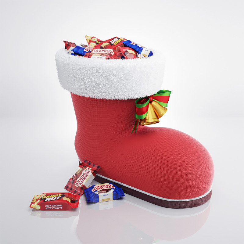 3d christmas boot candies model