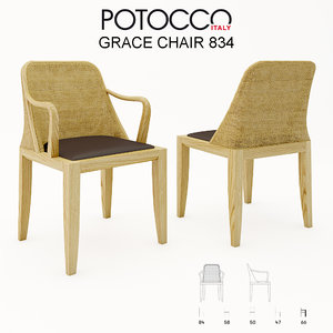 potocco grace chair 834 3d model