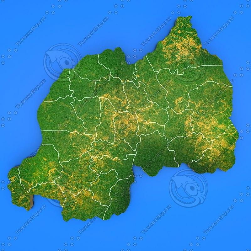 rwanda country 3d model
