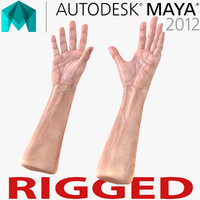 Old Man Hands 3 Rigged for Maya