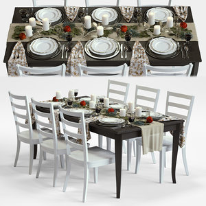 3d traditional holiday table model