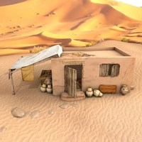 3d old egyptian house model