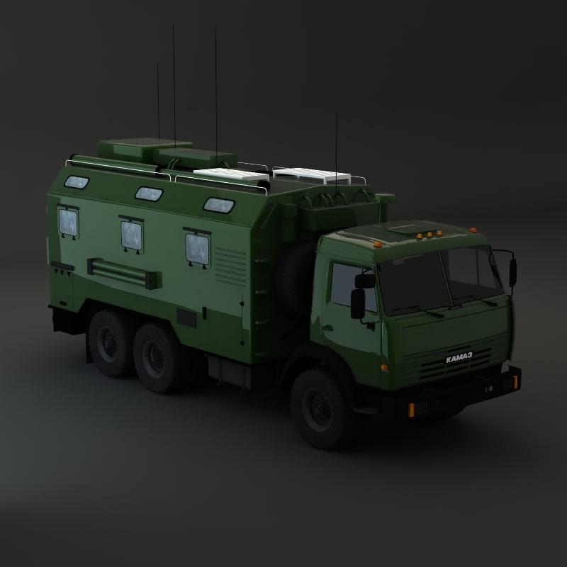 kamaz maz army 3d model