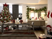 room christmas decorations 3d model
