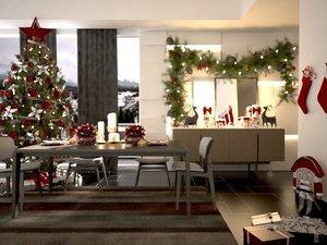 room christmas decorations 3d model