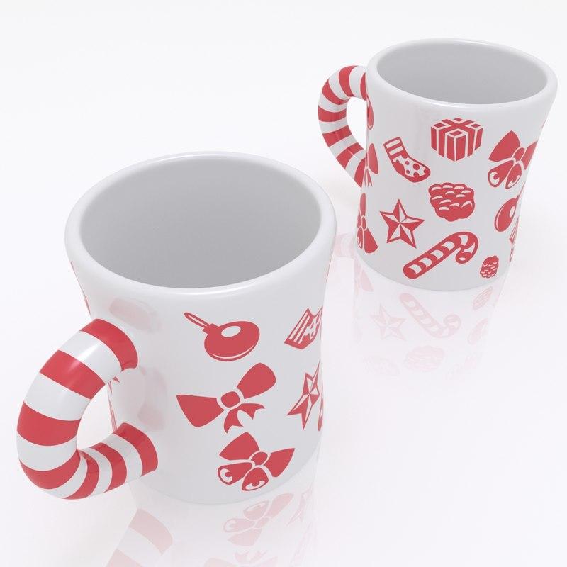 christmas candy mug 3d model