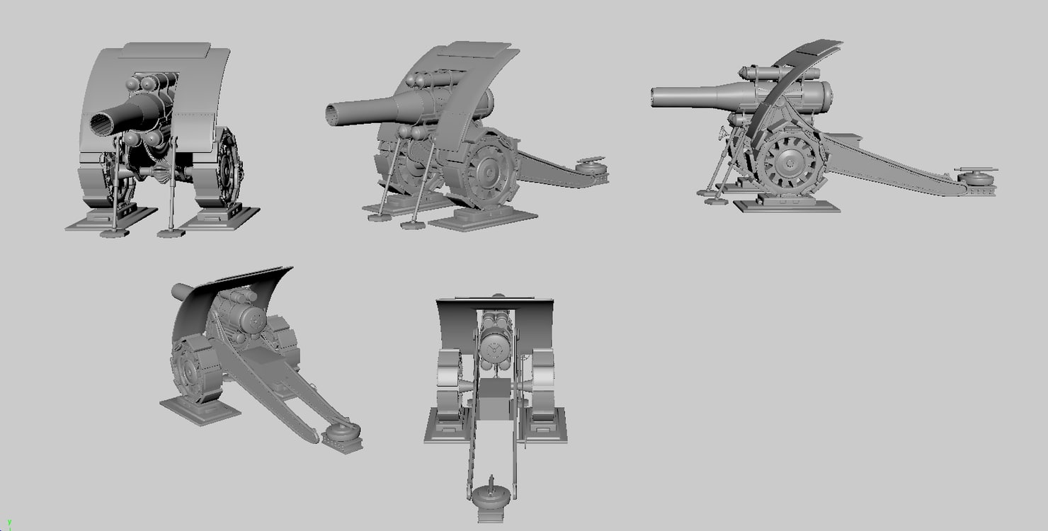 3d big bertha howitzer gun model