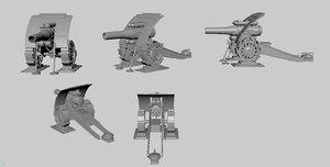 3d big bertha howitzer gun model