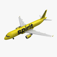 3d airbus a320 spirit airlines model