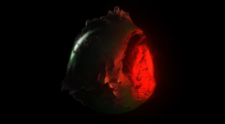 3d model planet eroded