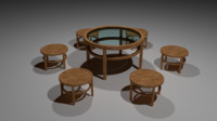 3d wooden table chairs