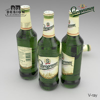 3d model beer bottle staropramen 2016
