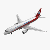 3d airbus a320 sichuan airlines model