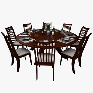 dining table set 3ds