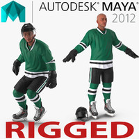 Hockey Player Generic Rigged for Maya 3D Model