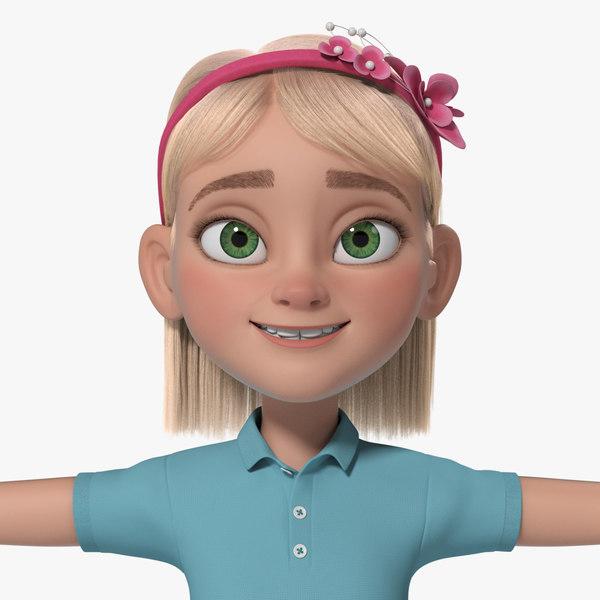 cartoon girl teen anna 3d ma