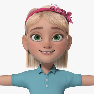 cartoon girl teen anna 3d ma