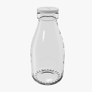 milk glass pint bottle 3d model