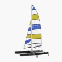 International A Class Catamaran Black 3D Model