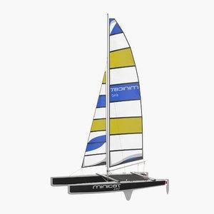 international class catamaran black 3d 3ds