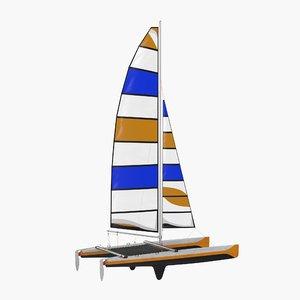 international class catamaran generic 3d model