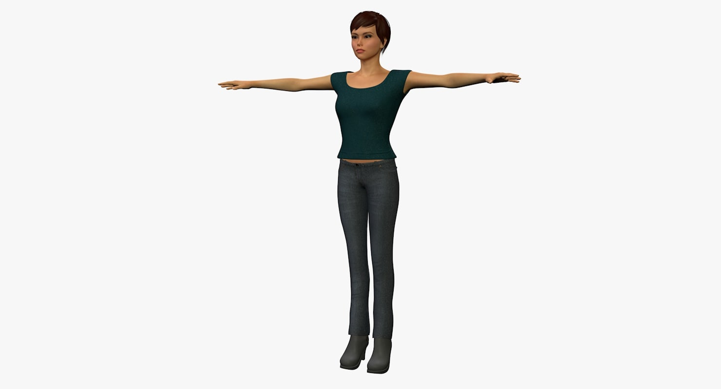 3d 3ds female animation rigged