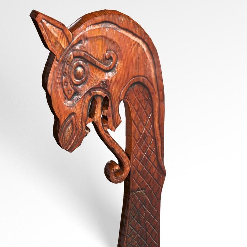 viking ship s dragon head 3d model
