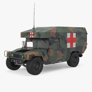 ambulance military car hmmwv 3d fbx