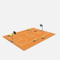 low poly basketball