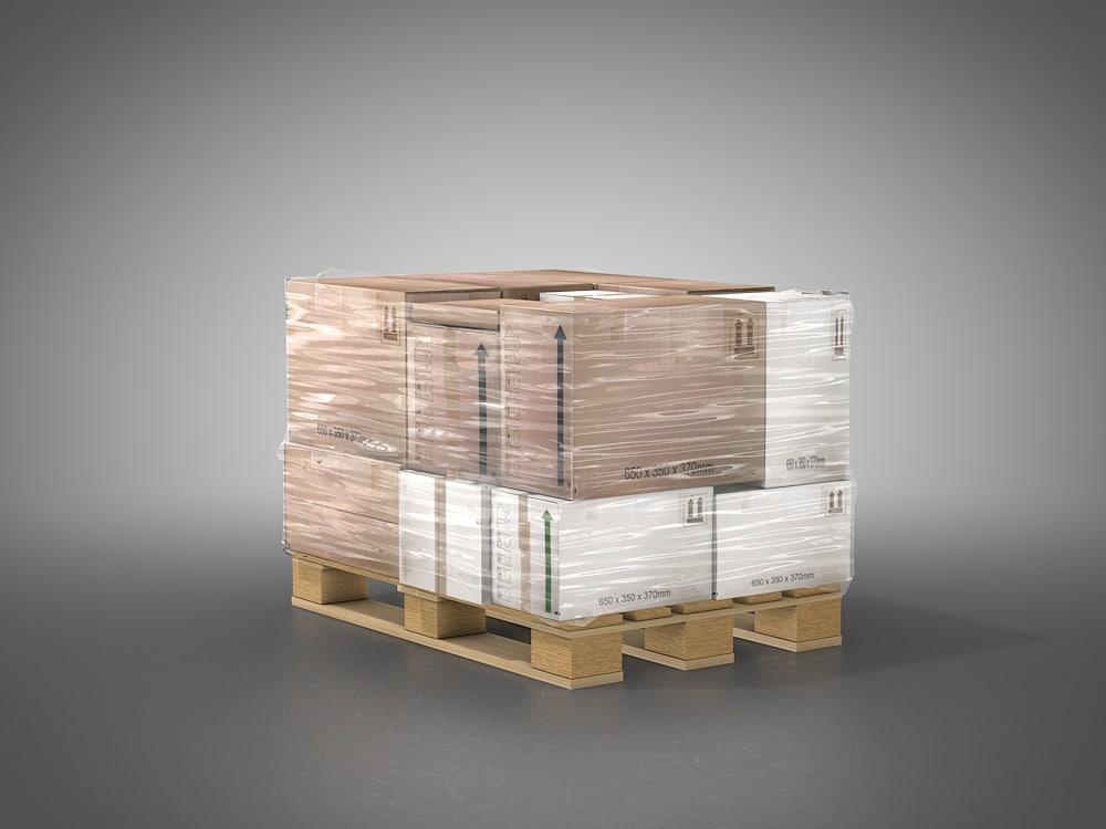 3d model palette boxes shrinkwrap