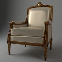3d armchair wood leather model