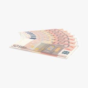 3d 50 euro bill fanned