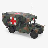Ambulance Military Car HMMWV m997 Rigged Camo