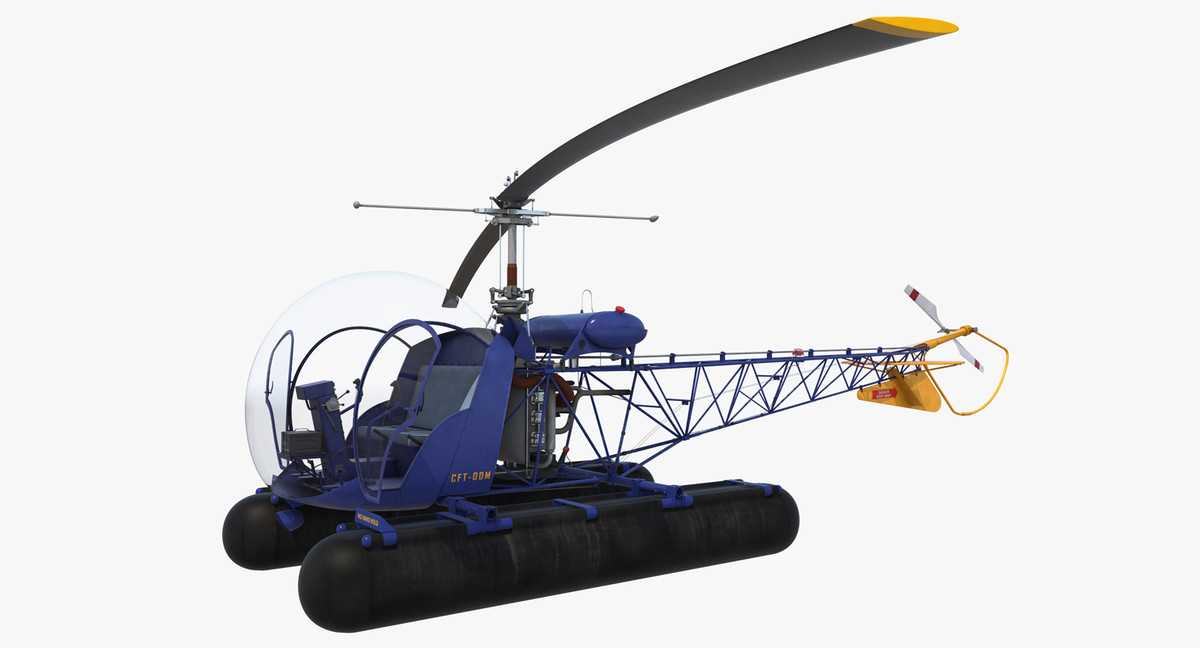 bell 47 floats rigged 3d max