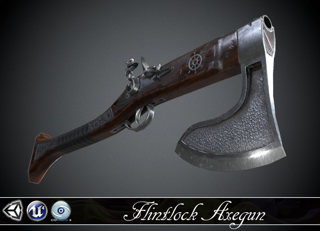 flintlock axe-gun - 3d model