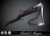 flintlock axe-gun - 3d model