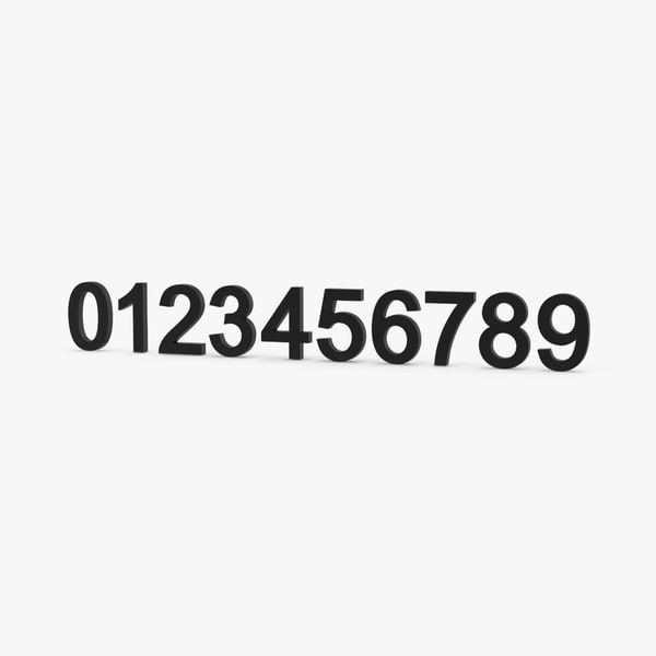 arial numbers 3d model