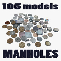 Collection 105 Manholes LowPoly