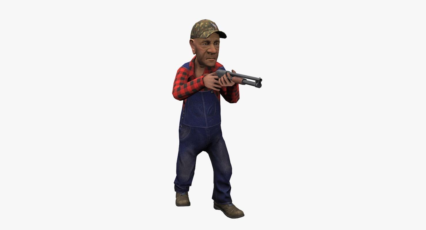farmer shotgun gun 3d obj