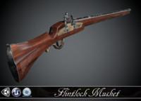Long Flintlock Musket - model and textures