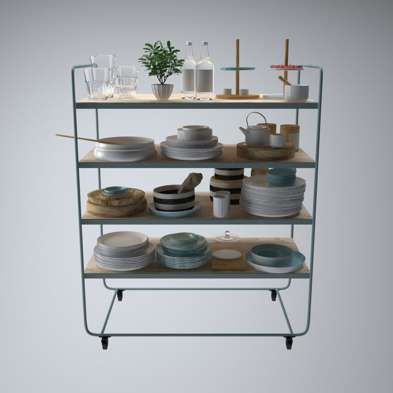 3d tableware set stand model